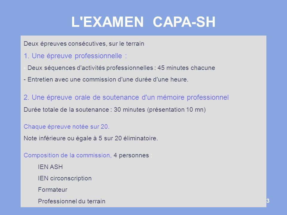 L EXAMEN CAPA-SH 1. Une épreuve professionnelle :