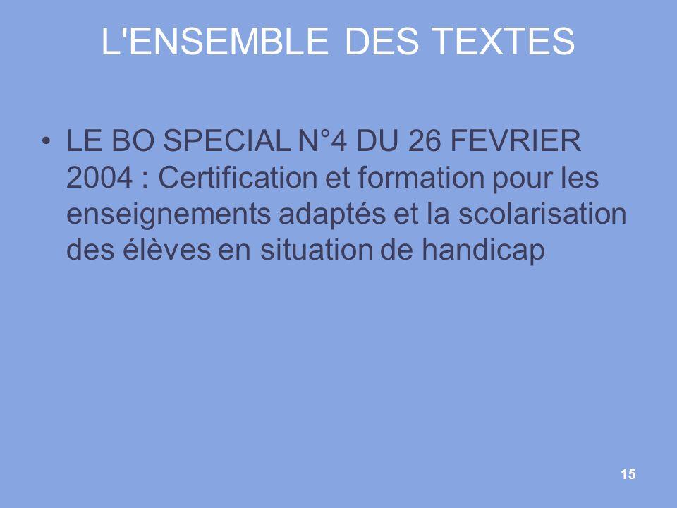 L ENSEMBLE DES TEXTES