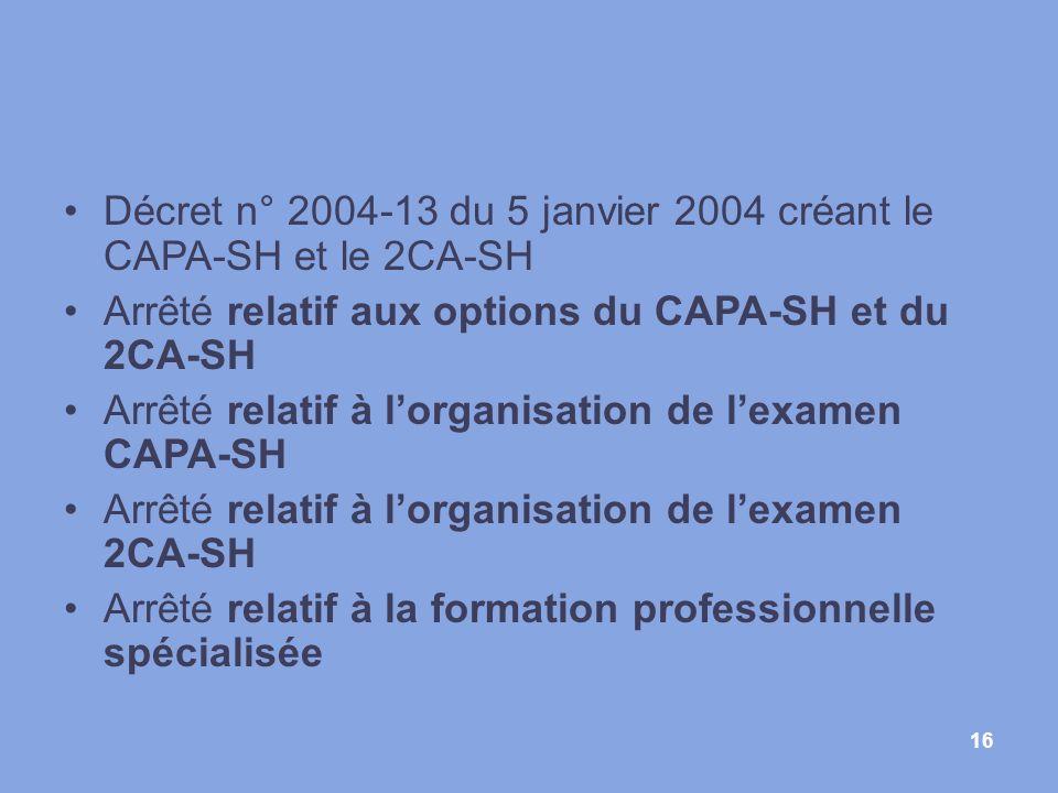 Décret n° 2004-13 du 5 janvier 2004 créant le CAPA-SH et le 2CA-SH