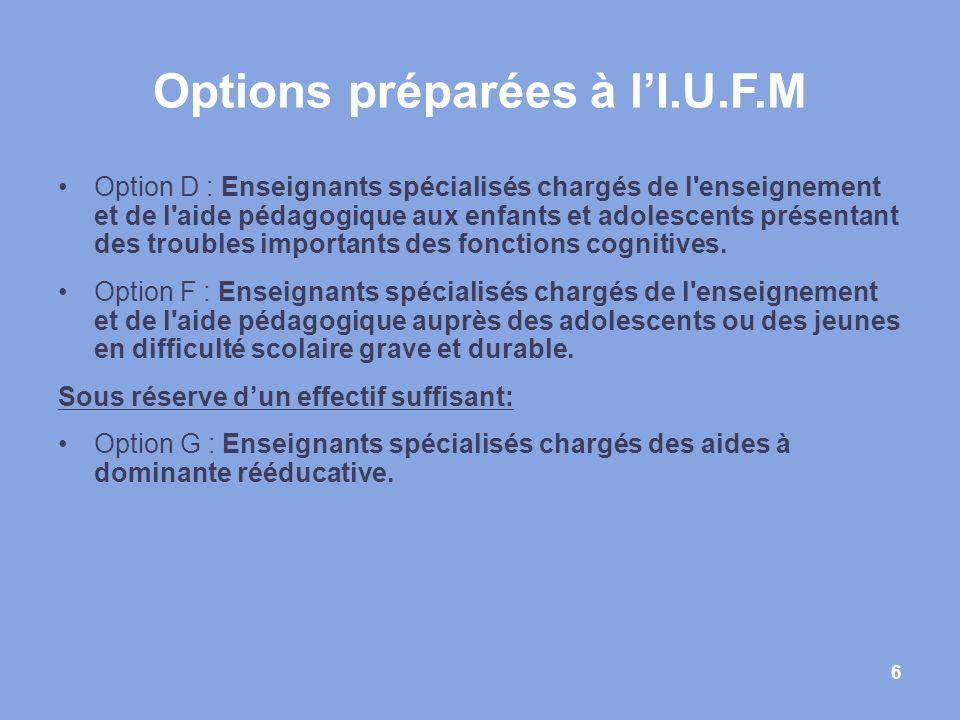 Options préparées à l'I.U.F.M