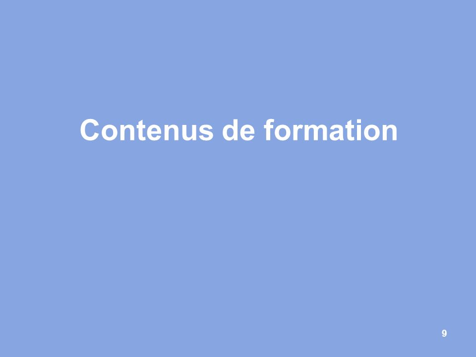 Contenus de formation 9