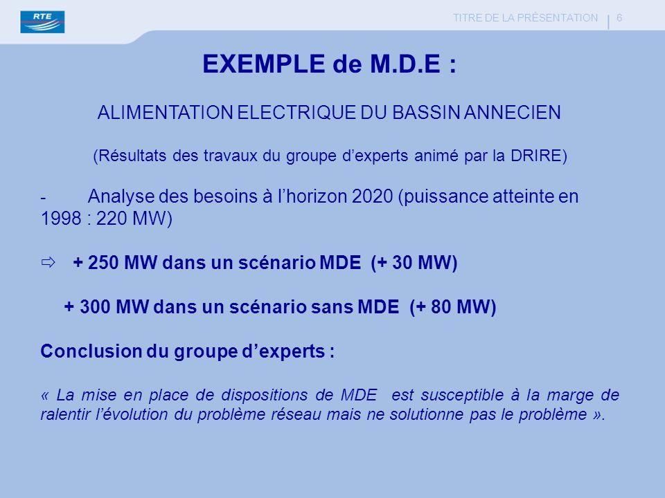 EXEMPLE de M.D.E : ALIMENTATION ELECTRIQUE DU BASSIN ANNECIEN