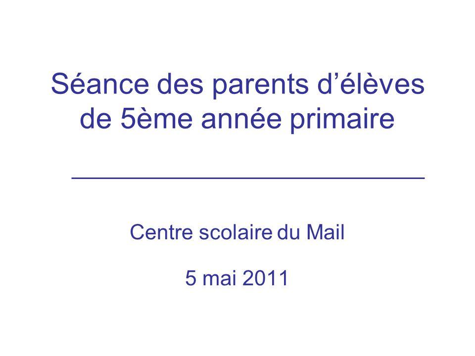 Séance des parents d'élèves de 5ème année primaire