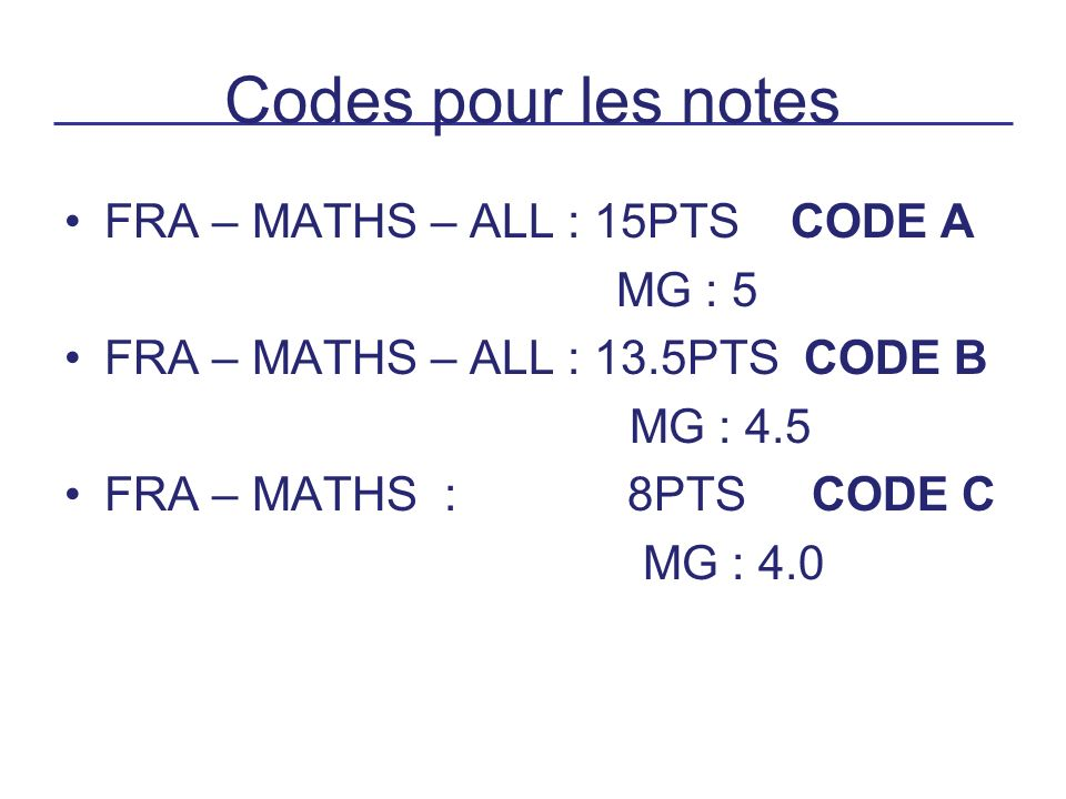 Codes pour les notes FRA – MATHS – ALL : 15PTS CODE A MG : 5