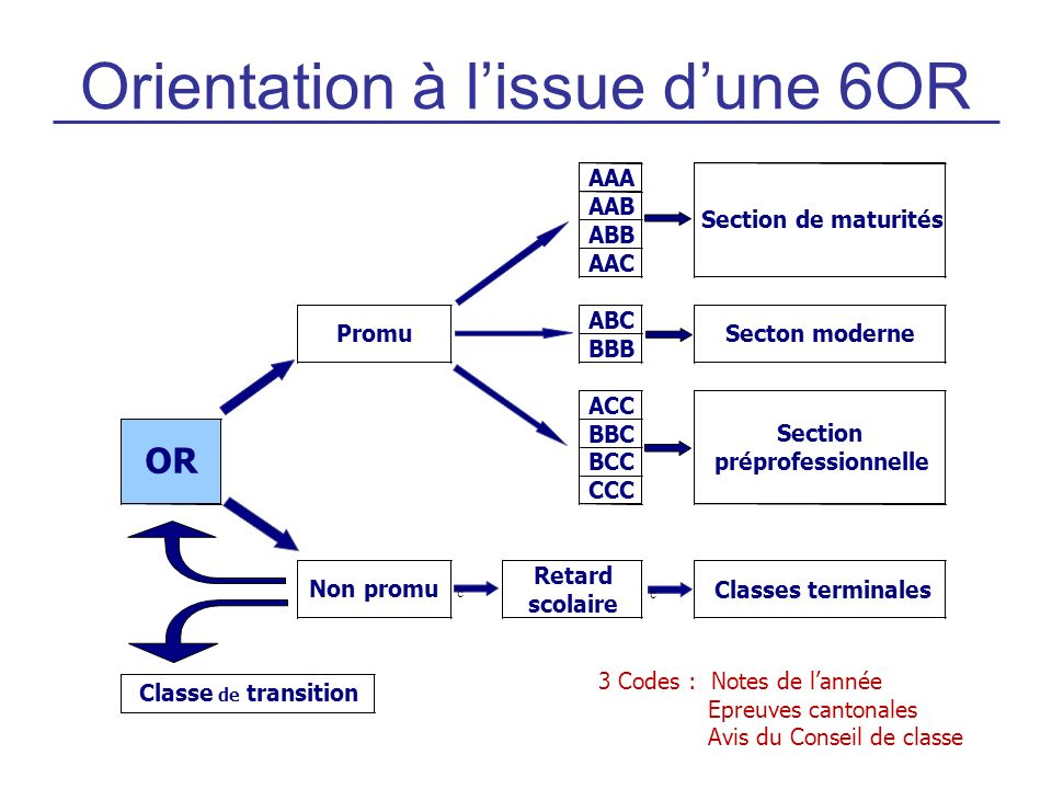 Orientation à l'issue d'une 6OR