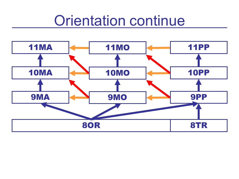 Orientation continue 11MA 11MO 11PP 10MA 10MO 10PP 9MA 9MO 9PP 8OR 8TR