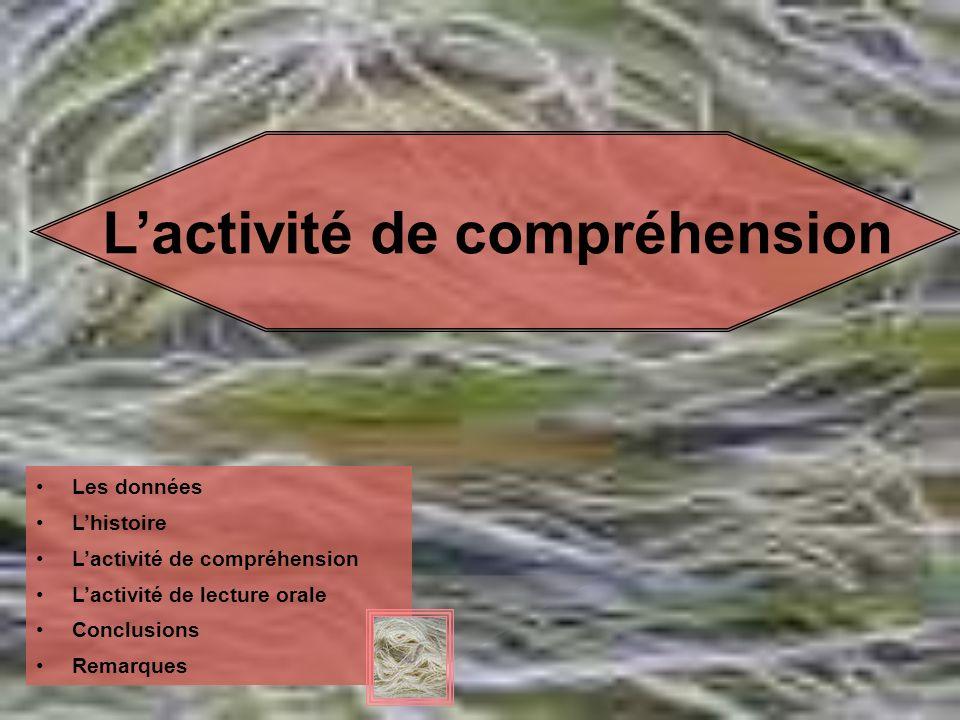 L'activité de compréhension