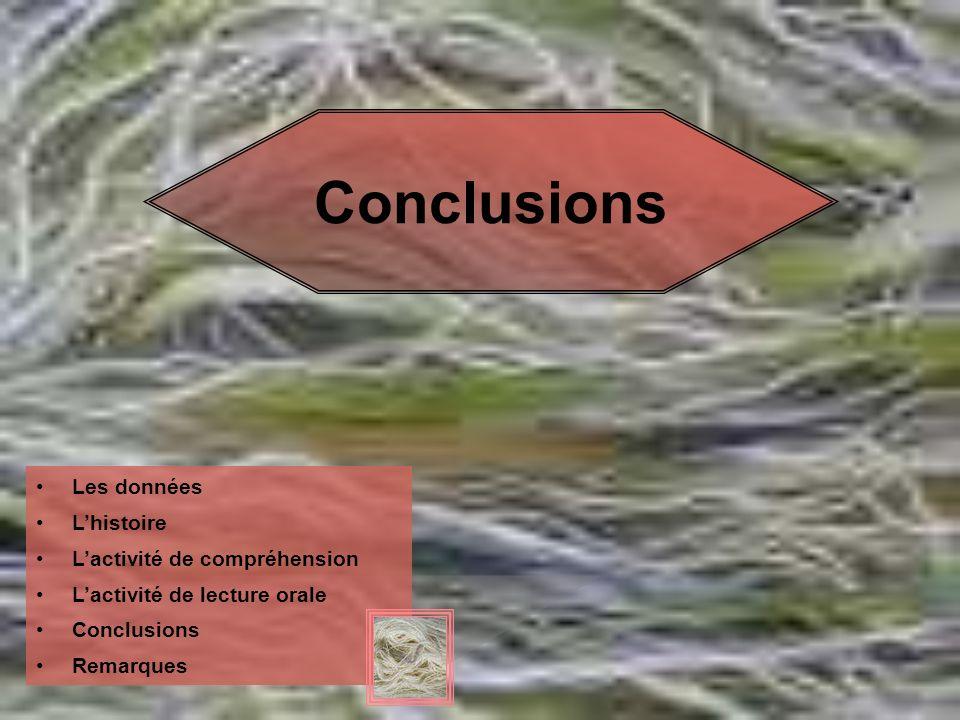 Conclusions Les données L'histoire L'activité de compréhension