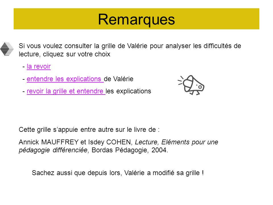 Remarques Si vous voulez consulter la grille de Valérie pour analyser les difficultés de lecture, cliquez sur votre choix.