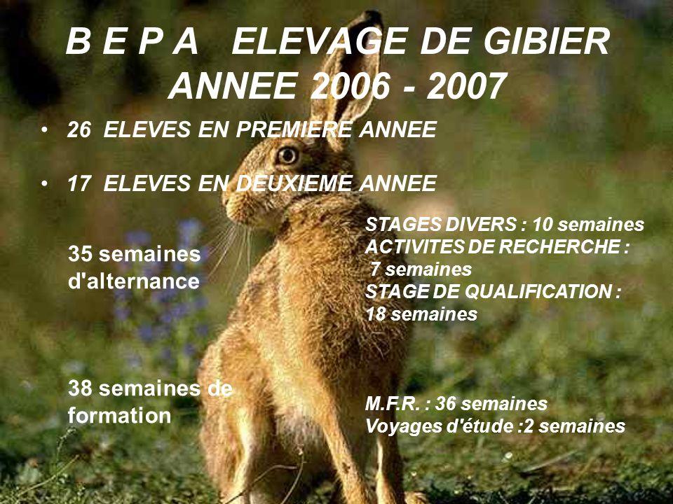 B E P A ELEVAGE DE GIBIER ANNEE 2006 - 2007