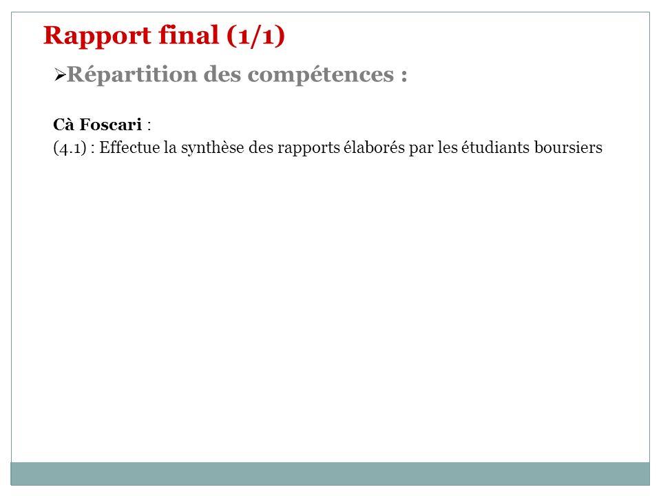 Rapport final (1/1) Répartition des compétences : Cà Foscari :
