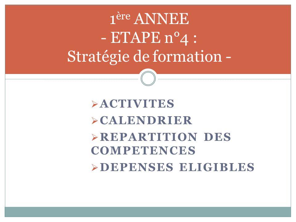 1ère ANNEE - ETAPE n°4 : Stratégie de formation -