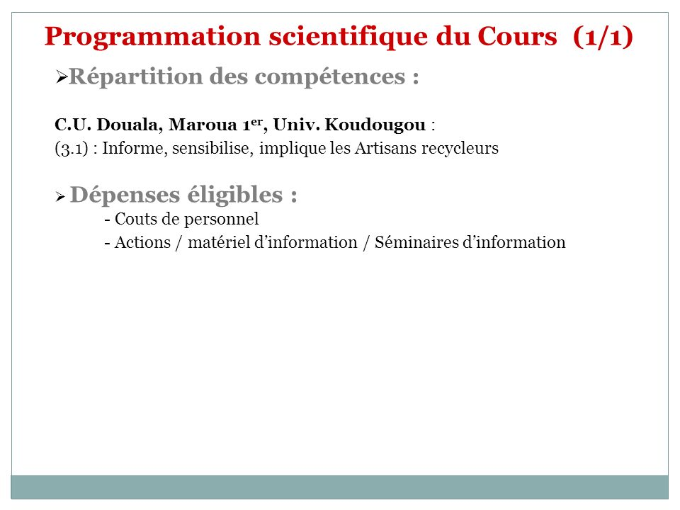 Programmation scientifique du Cours (1/1)