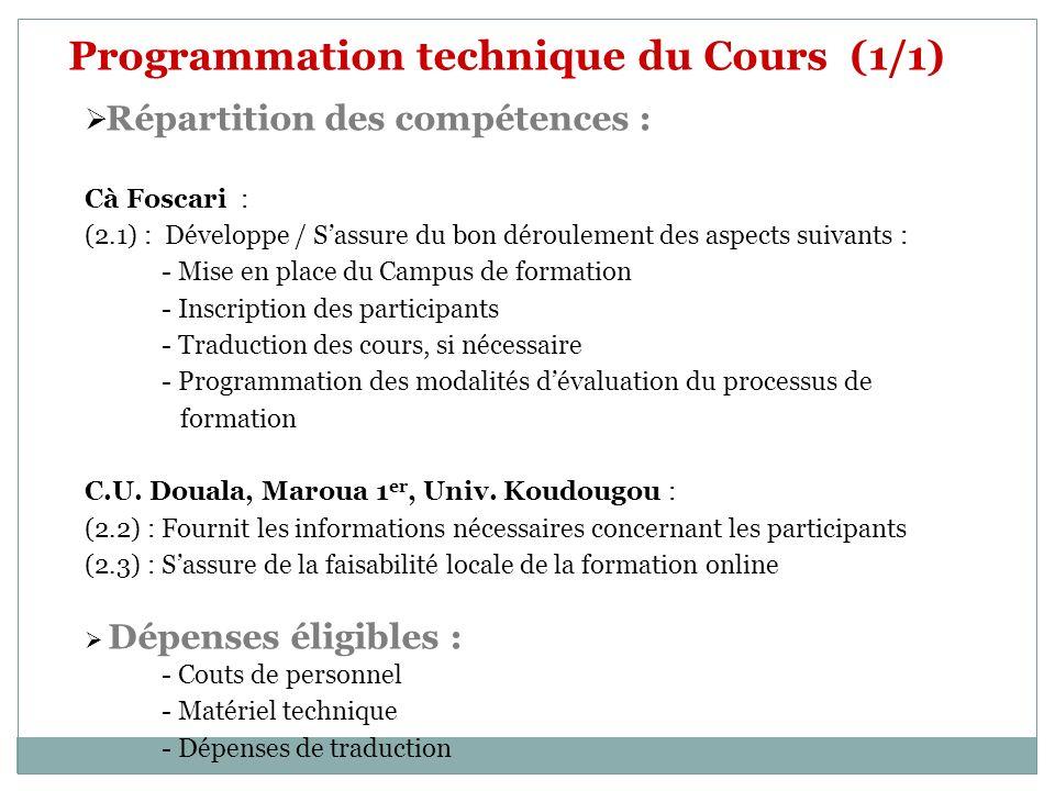 Programmation technique du Cours (1/1)