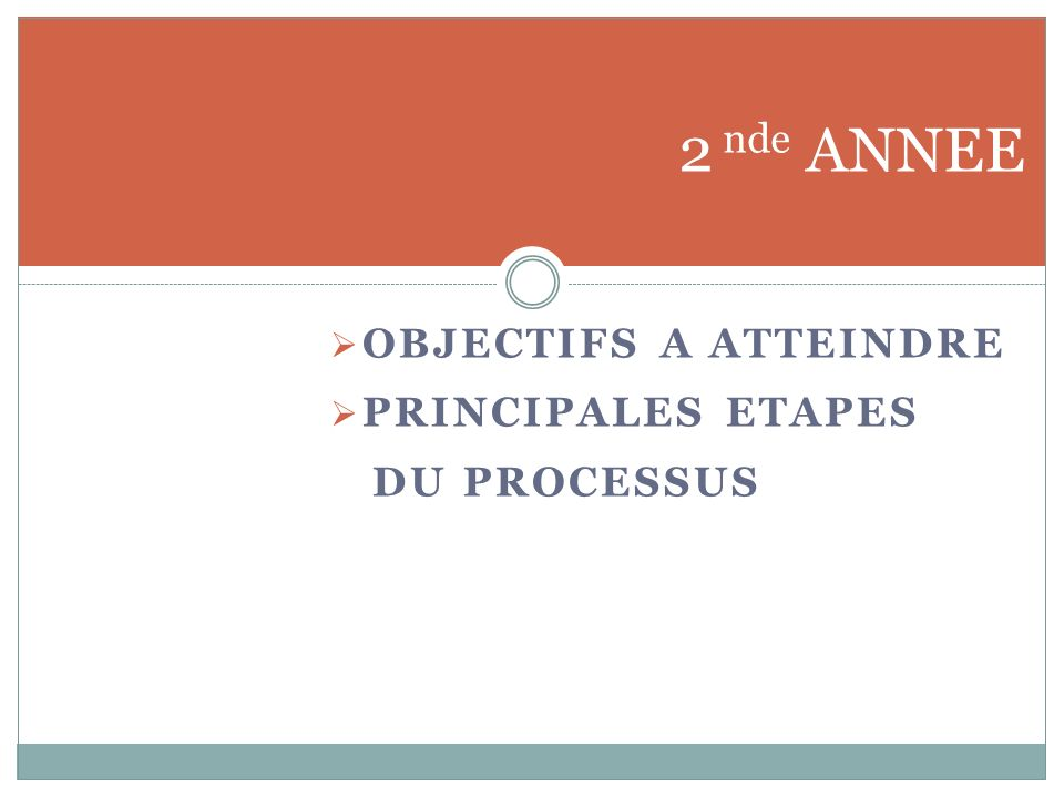2 nde ANNEE OBJECTIFS A ATTEINDRE PRINCIPALES ETAPES DU PROCESSUS