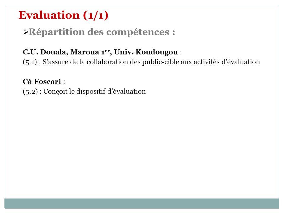 Evaluation (1/1) Répartition des compétences :
