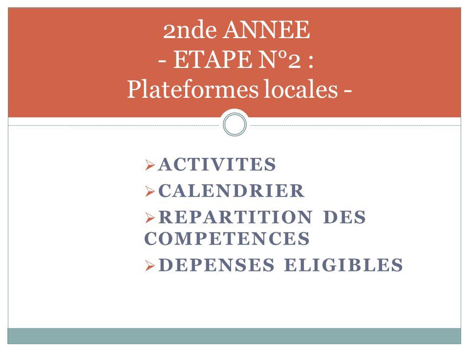 2nde ANNEE - ETAPE N°2 : Plateformes locales -