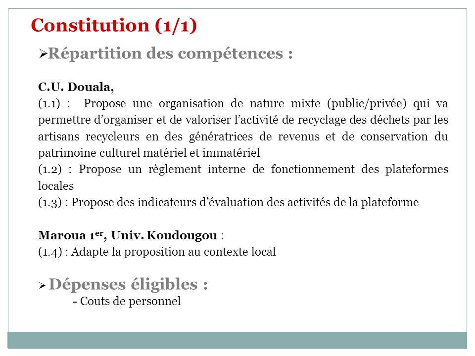 Constitution (1/1) Répartition des compétences : C.U. Douala,