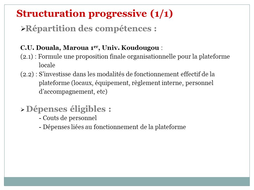 Structuration progressive (1/1)