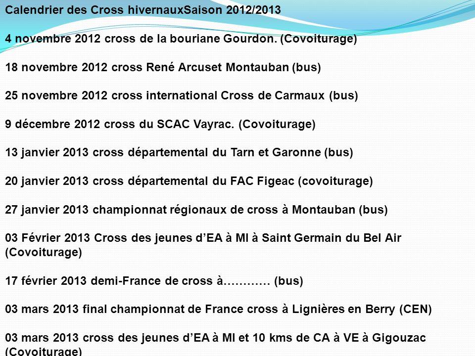 Calendrier des Cross hivernauxSaison 2012/2013