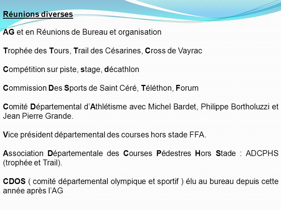 Réunions diverses AG et en Réunions de Bureau et organisation. Trophée des Tours, Trail des Césarines, Cross de Vayrac.
