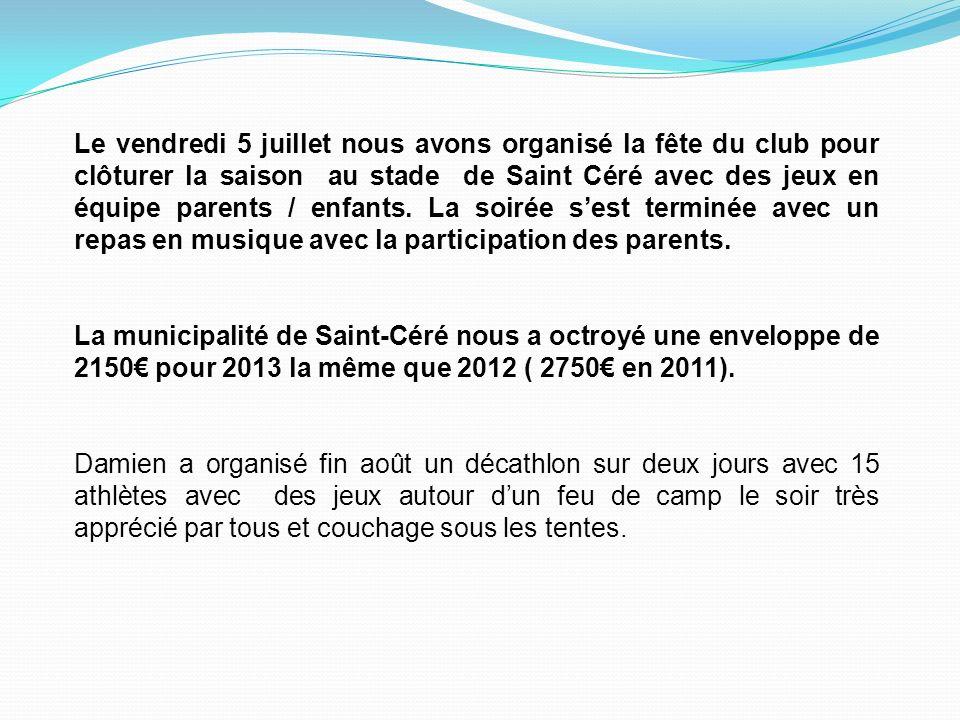 Le vendredi 5 juillet nous avons organisé la fête du club pour clôturer la saison au stade de Saint Céré avec des jeux en équipe parents / enfants. La soirée s'est terminée avec un repas en musique avec la participation des parents.