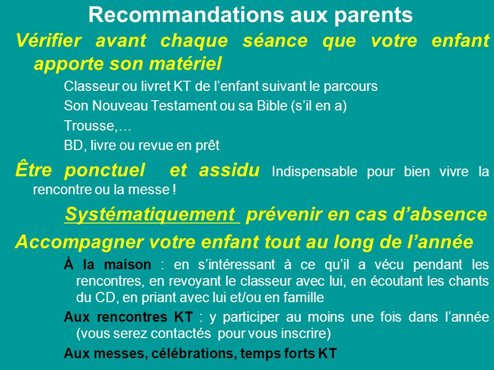 Recommandations aux parents