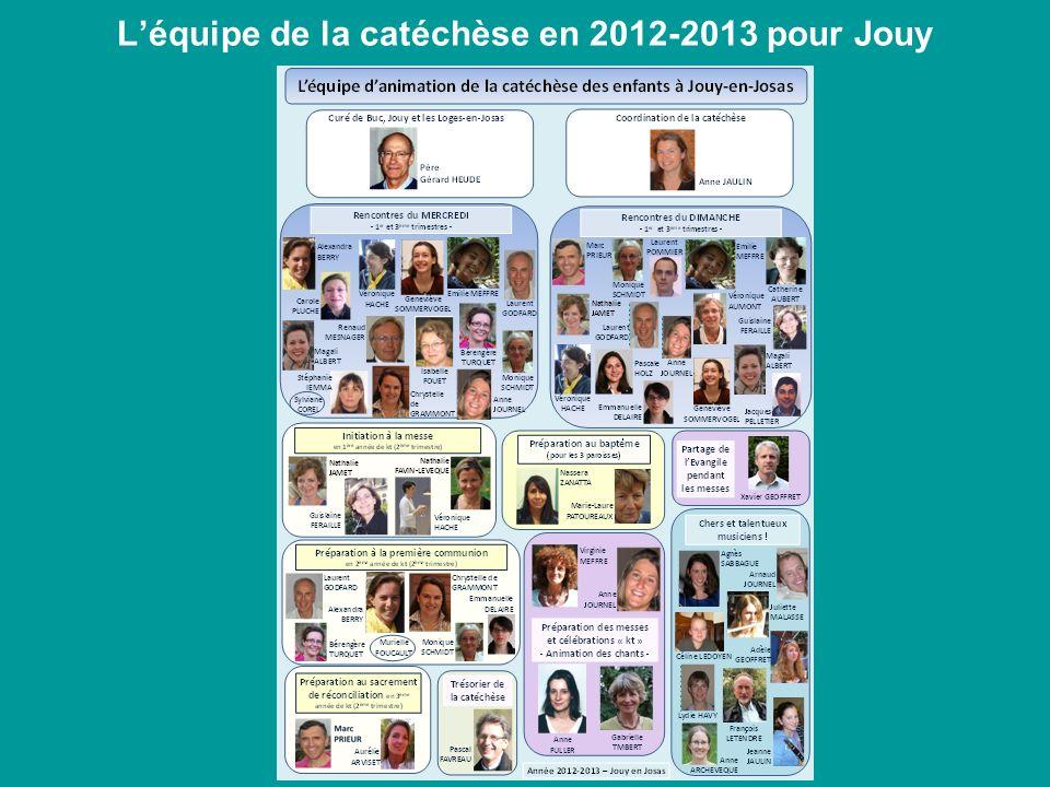 L'équipe de la catéchèse en 2012-2013 pour Jouy
