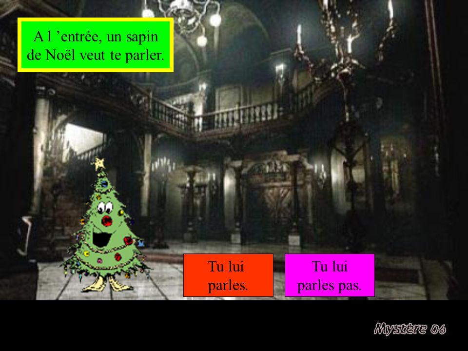 A l 'entrée, un sapin de Noël veut te parler. Tu lui parles. Tu lui parles pas.