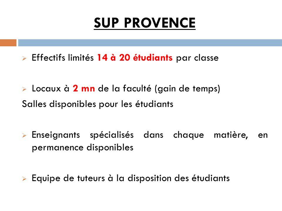 SUP PROVENCE Effectifs limités 14 à 20 étudiants par classe