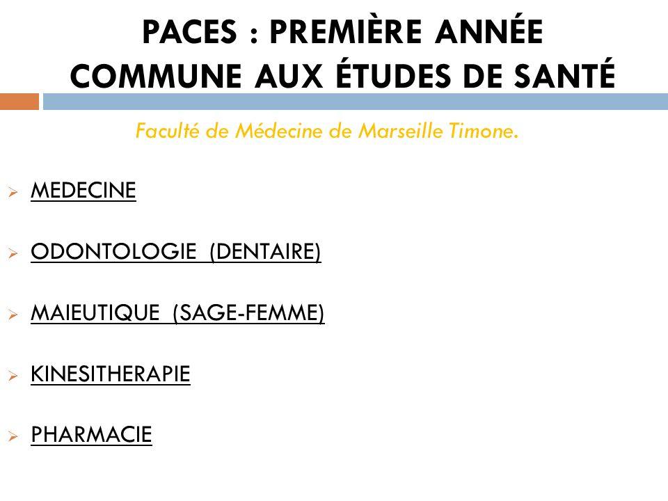 PACES : PREMIÈRE ANNÉE COMMUNE AUX ÉTUDES DE SANTÉ