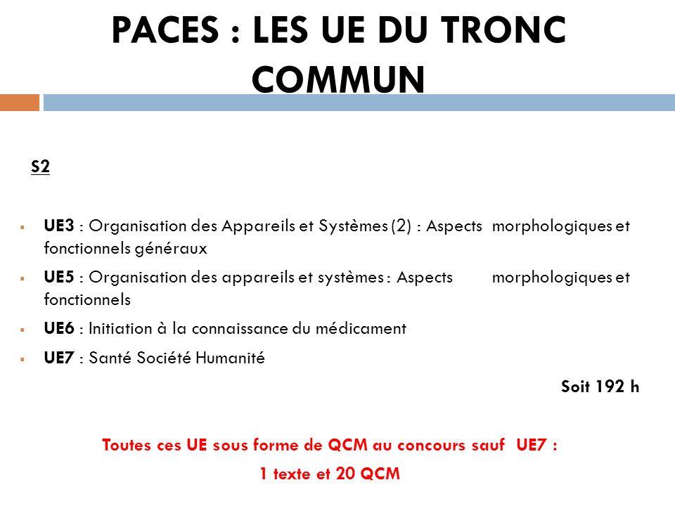 PACES : LES UE DU TRONC COMMUN