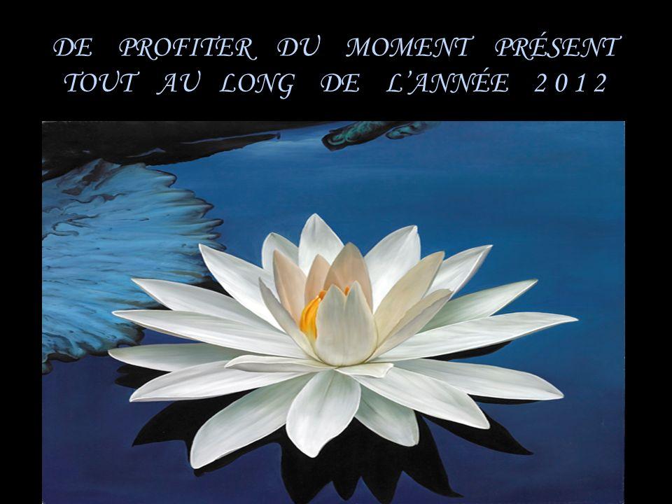 DE PROFITER DU MOMENT PRÉSENT TOUT AU LONG DE L'ANNÉE 2 0 1 2