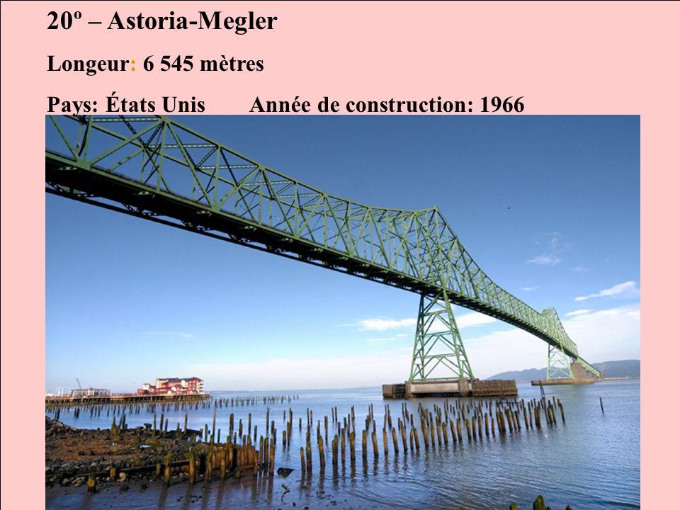 20º – Astoria-Megler Longeur: 6 545 mètres