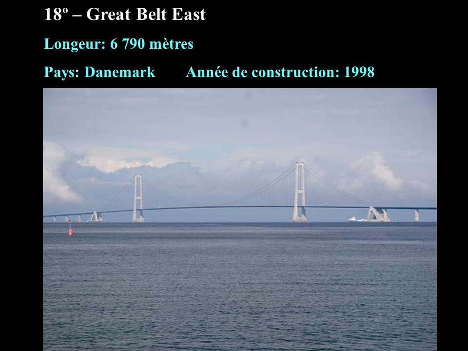 18º – Great Belt East Longeur: 6 790 mètres