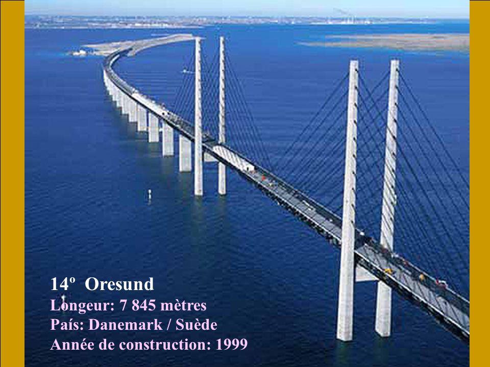 14º Oresund Longeur: 7 845 mètres País: Danemark / Suède Année de construction: 1999