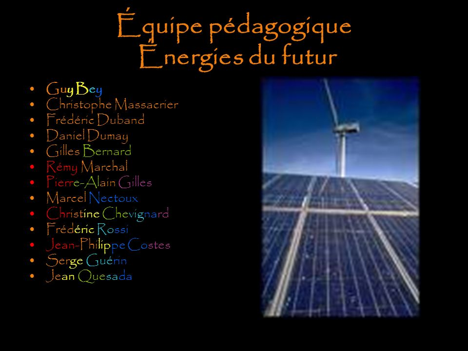 Équipe pédagogique Énergies du futur