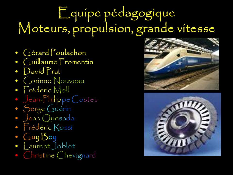 Equipe pédagogique Moteurs, propulsion, grande vitesse
