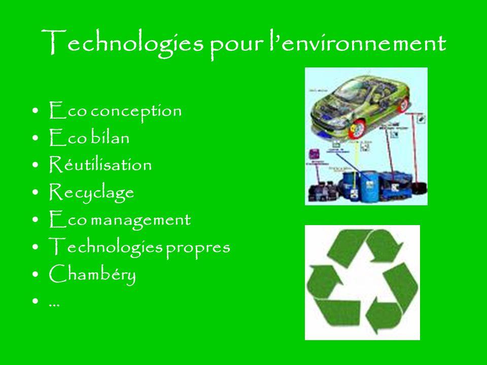 Technologies pour l'environnement