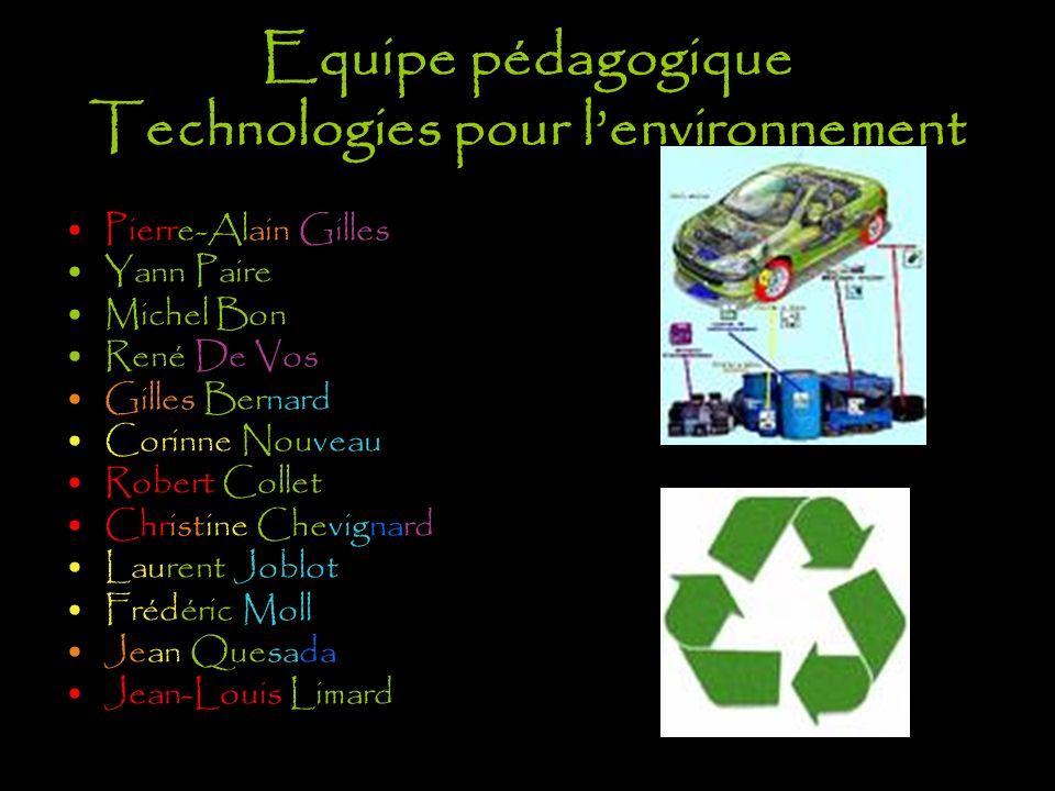 Equipe pédagogique Technologies pour l'environnement