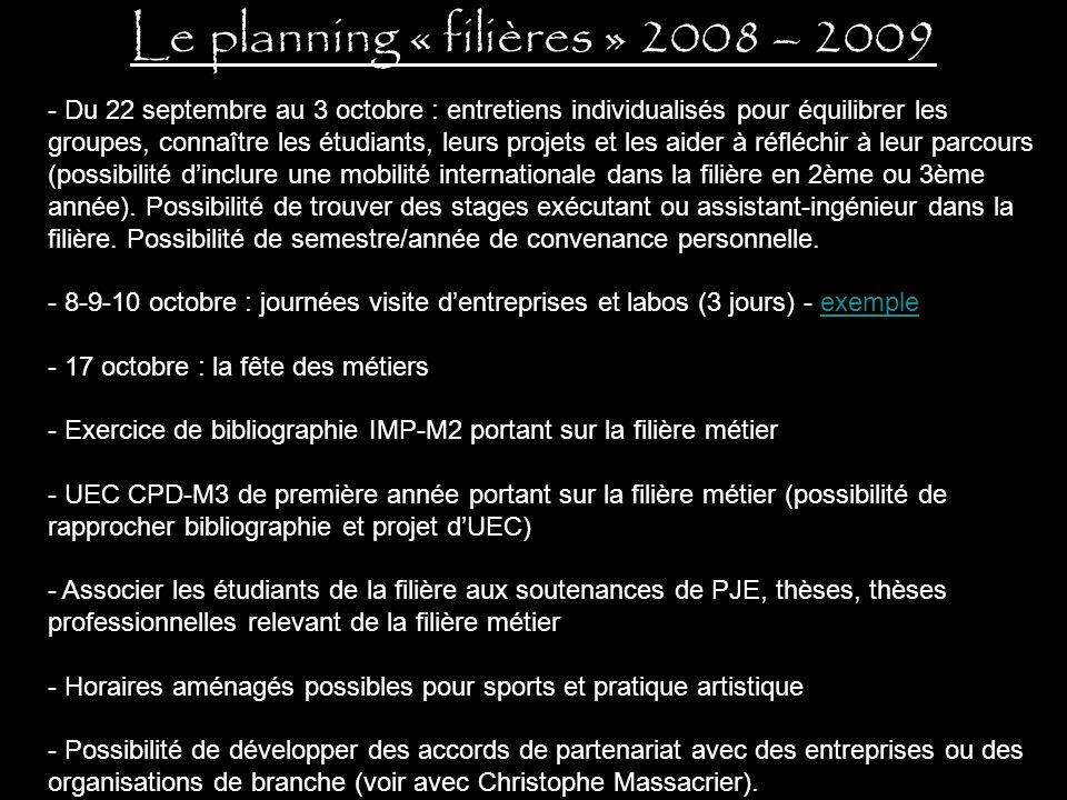 Le planning « filières » 2008 – 2009