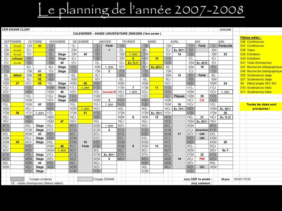 Le planning de l'année 2007-2008