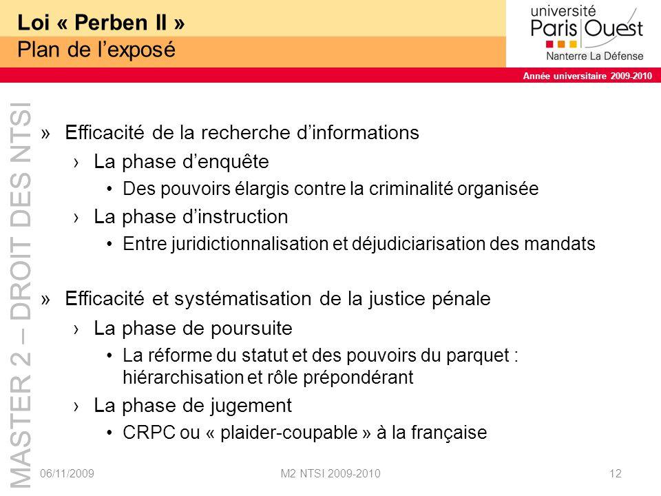 Loi « Perben II » Plan de l'exposé
