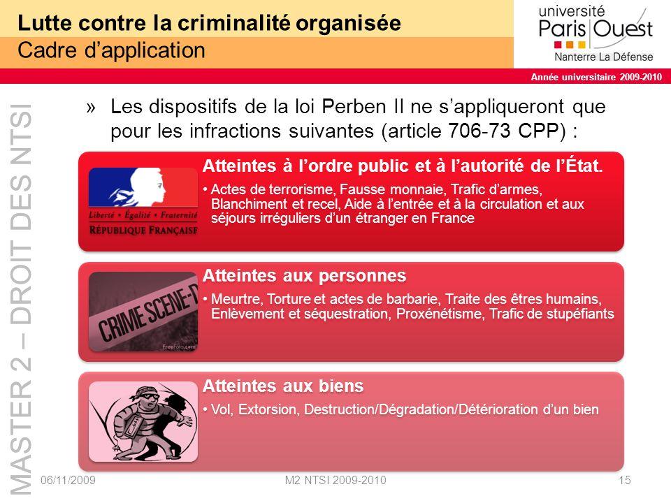 Lutte contre la criminalité organisée Cadre d'application