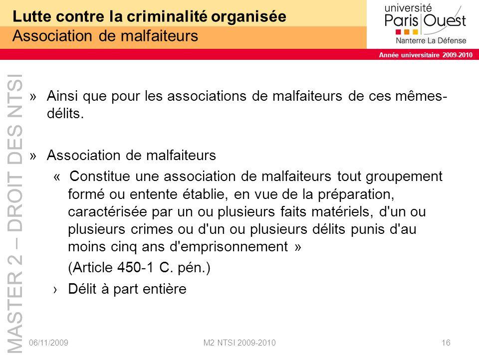 Lutte contre la criminalité organisée Association de malfaiteurs