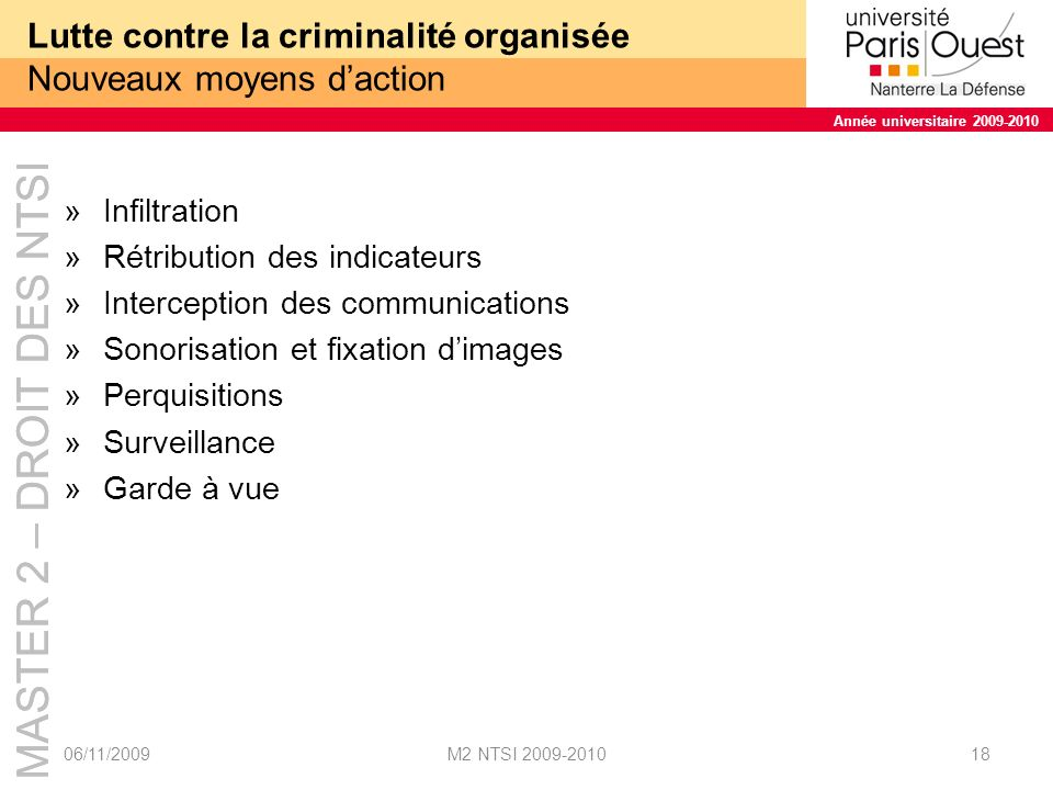 Lutte contre la criminalité organisée Nouveaux moyens d'action