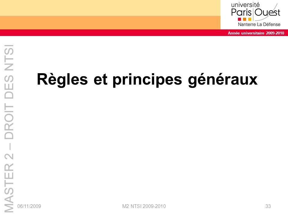 Règles et principes généraux