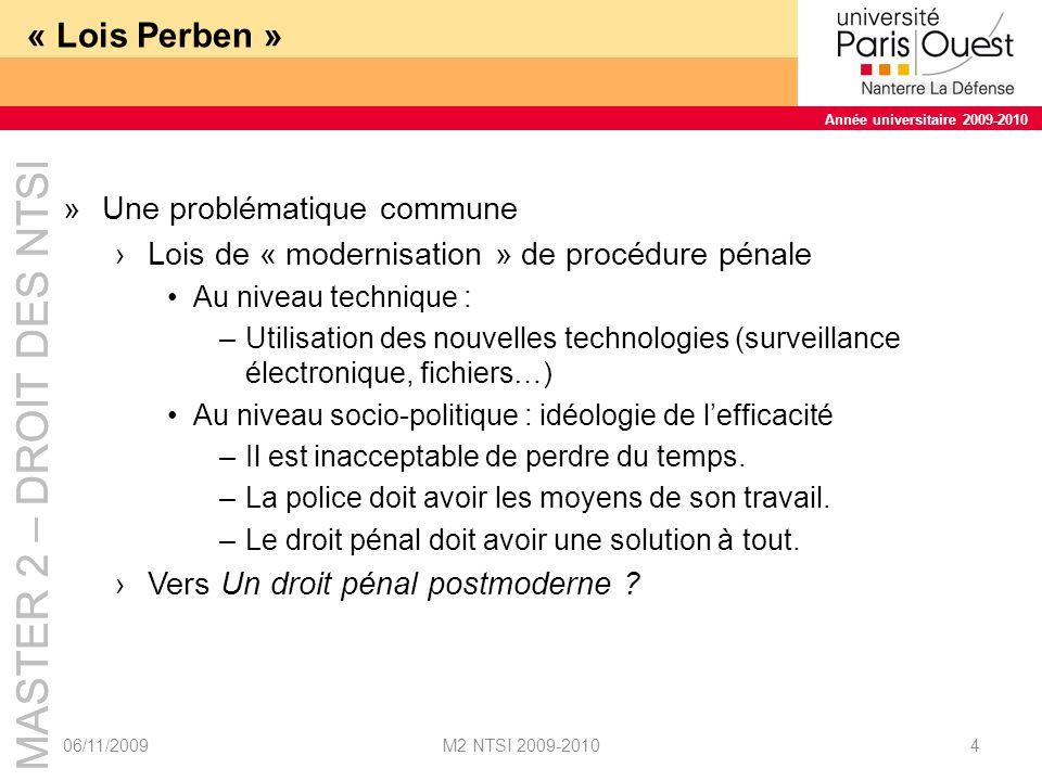 « Lois Perben » Une problématique commune