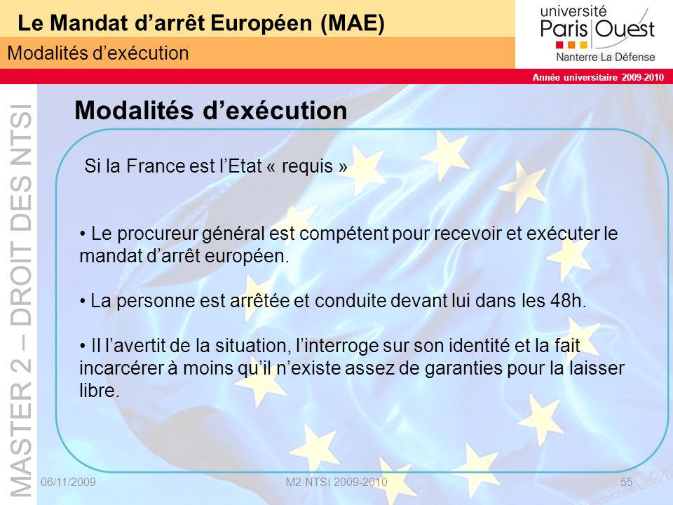 Le Mandat d'arrêt Européen (MAE)