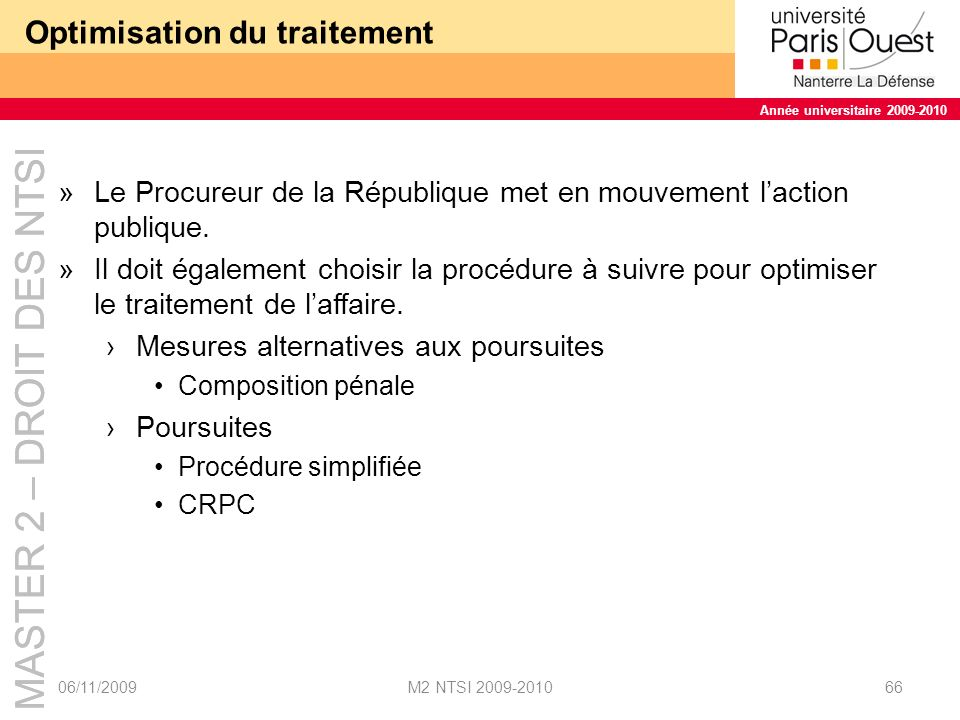 Optimisation du traitement